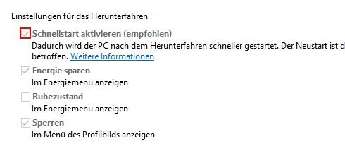 Schnellstart unter Windows 10 deaktivieren