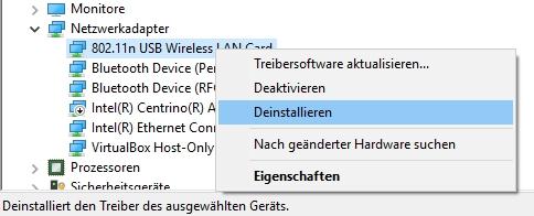 Netzwerkkarte deinstallieren, wenn sich WLAN nicht einschalten lässt