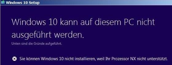 Sie können Windows 10 nicht installieren weil Ihr Prozessor NX nicht unterstützt