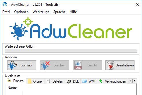 AdwCleaner gegen Suchleiste auf Desktop einsetzen