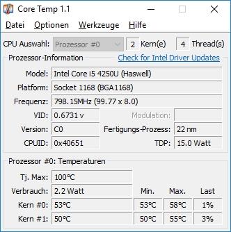 CPU-Temperatur anzeigen lassen unter Windows 10