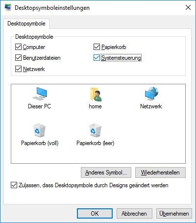 Desktopsymbole in Windows 10 wiederherstellen