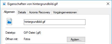 GIF als Hintergrund einrichten