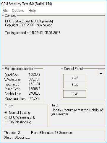 Prozessor auf Fehler prüfen lassen mit dem CPU Stability Test
