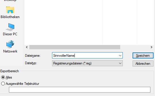Registry exportieren
