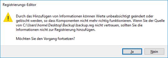 Registry Sicherung per Doppelklick wiederherstellen