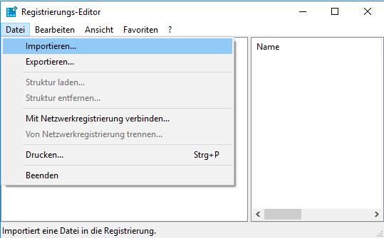 Registry importieren und wiederherstellen