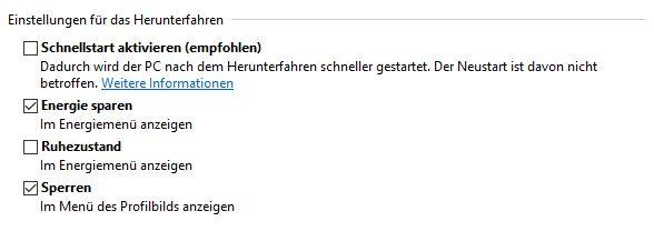 Schnellstart deaktivieren unter Windows 10