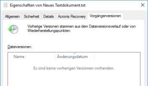 Überschriebene Datei mit Dateiversionierung unter Windows 10 wiederherstellen