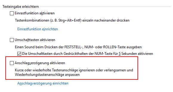 Windows 10 Anschlagsverzögerung deaktivieren