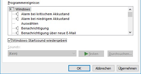 Windows 10 Startsound aktivieren