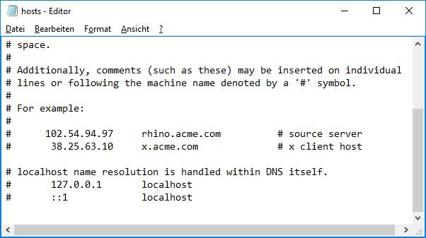 Windows 10: Host Datei zurücksetzen