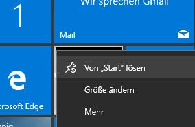 Windows 10 Kacheln abschalten