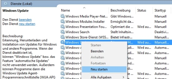 Windows Update Dienst beenden