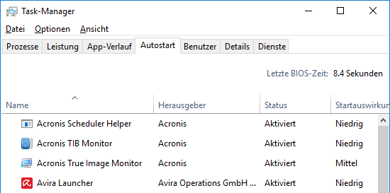 Windows 10 Autostart bereinigen und booten beschleunigen