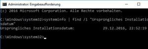 Windows 10 Installationsdatum