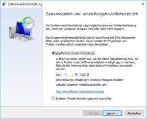 Windows 10 auf bestimmtes Datum zurücksetzen