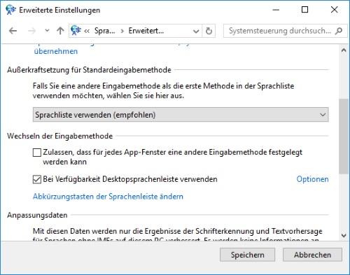 """Windows 10 Eingabeindikator """"DEU"""" deaktivieren"""