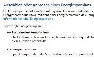 Stromverbrauch unter Windows 10